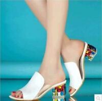 Womens Rhinestones Sandal Slipper Loafer Slingbacks Mid Chunky Heel Shoes Hot Sz