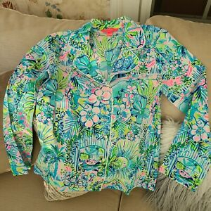 "Lilly Pulitzer ""Lilly's House""  woven, button down Pajama Top Size XS NWOT"