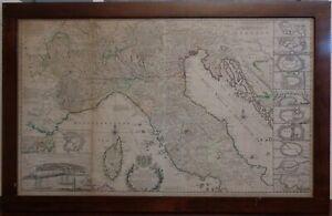 Antica carta geografica mappa Italia Moll 1752
