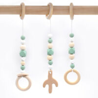 Natural Wooden Beads Baby Cactus Shower Gift Teething Hanging Play Pram Gym Toys