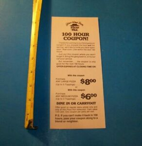 """Pizza Hut Vintage Advertising """"100 Hour Coupon!"""" 1982"""