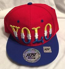 YOLO You Only Live Once BASEBALL Cap HAT Flat Bill ROST Snap Back Premium Hip