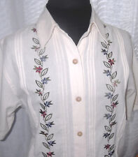 Alfred Dunner Size 10 Button Front Blouse Embroidered Cream Mauve Blue Floral