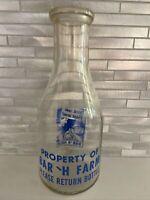 Vintage Bar 'H Farm Milk Quart Bottle - Thirst Come, Thirst Served - Hawaii