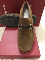 NIB Salvatore Ferragamo Tasby Brown Sugar Suede Driver Loafers 12EE