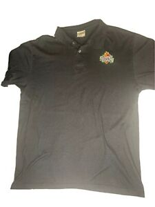MENS LARGE GAME CRAZY BLACK EMPLOYEE POLO COLLARED COTTON SHIRT