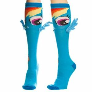 My Little Pony Rainbow Dash Knee High Socks with Wings - One Size MLP Cosplay
