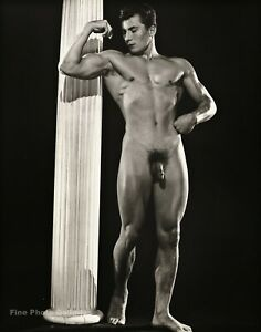 1950s BRUCE BELLAS Of L.A. Vintage Classic Male Nude Bodybuilder Photo Engraving