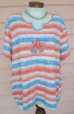 WEST PALM Long Cut Top Sz 3X Embroidered Seashells Soft Cool EZ CARE Blouse
