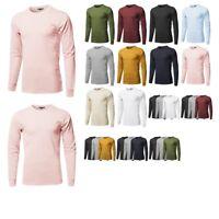 FashionOutfit Men's Causal Solid Basic 100% Ring Spun Cotton Long Sleeve T-Shirt