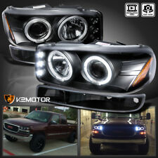2000-2006 GMC Yukon XL Halo LED Projector Headlights+Bumper Lamp Black