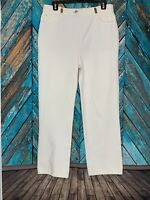 St John Sport Stretch Denim White Straight Leg Jeans Pants White Gold Accents 12