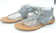 SOREL Summer Boot Womens Sz 10 Boho Silver Leather Laced Thong Sandals