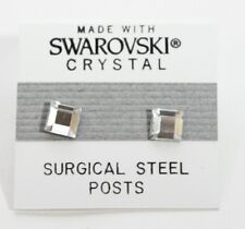 Silver Square Stud Earrings 6mm Crystal Made with Swarovski Elements Gift
