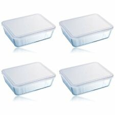 Pyrex Cook & Store 4Pc 4L Classic Rectangular Glass Baking Dish With Plastic Lid