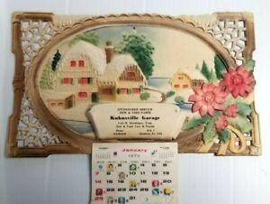 Vtg Kuhnsville PA Calendar Studebaker Svc  Allentown Embossed Glitter Litho 1973