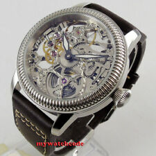 44mm PARNIS skeleton dial luminous Mechanical hand winding 6497 mens watch P1263