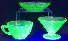 Antique 1920 Fenton Uranium Depression Glass Swirl Dessert Sherbet Cup Bowl Lot