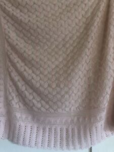 VINTAGE Beautiful Knit Crocheted Pale Pink & Silver Baby Blanket  Nursery Decor