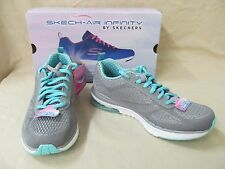 Skechers 9.5 M Charcoal/Turquoise Skech-Air Infinity Lace Shoes 12111/CCTQ
