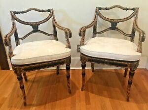 Vintage Pair Theodore Alexander Hand Made Regency Chair Item No. 4102-003
