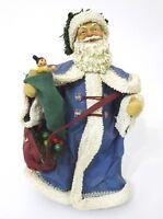 Santa Claus Blue Robe Eyes Standing Statue Bag Gifts Old Saint Nick Christmas