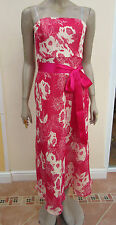 George Collection - Womens Pink / White Chiffon Strapless Dress - Size 12