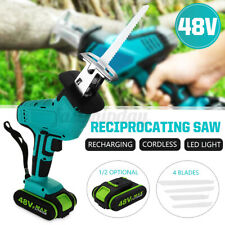 Electric Cordless Reciprocating Saw Wood Metal Cutting 4 Blade Variable Speed