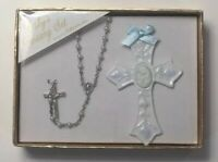 Baby's Rosary and Cross Gift Set For Boy by Roman, Inc. Baby Blue