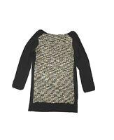 THML Womens M Short Long Sleeve Shift Dress Boucle Front Woven Knit Mini Black