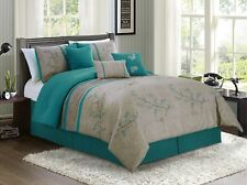 7-Piece Cherry Blossoms Floral Embroidery Bedding Comforter Set Teal Cal King