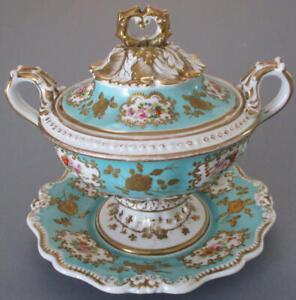 "Antique 1800s English RIDGWAY 7"" Porcelain HP Dessert Tureen Comport GILT Paste"