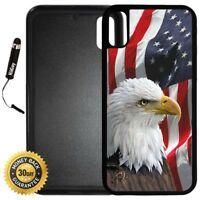 Case for iPhone X 10 8 8 Plus + Galaxy Note 8 LG G6 - Bald Eagle American Flag