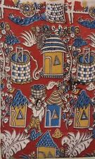 Cotton kalamkari block print fabric - 100 cms length by 43 Village scene Red