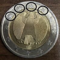 2 euro € Fehlprägung Deutschland 2011 J Doppel Rand 4 X Geschnittene Sterne