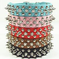 PU Leather Rivet Spiked Studded Pet Dog Collar Neck Strap Adjustable XS S M L