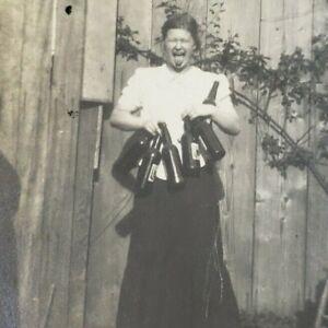 Oregon Coast 1910s Seaside Drunk Woman Wino Wine Bottles Girl 1914 Photo G124