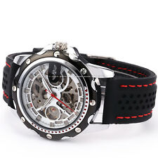 Men's Skeleton Automatic Mechanical Black Silicone Band Sport Wrist Watch Gift