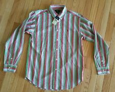 Ralph Lauren Boys Shirt Oxford Stripe Size L 16-18 Red Blue Green White Orange