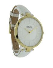 Bulova 97L140 Women's Round Glossy White Analog Gold Tone Watch