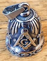 Masonic Mason Live to Ride Bell Skull Motorcycle Motorbike Biker Guardian Luck