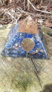 Lapis Lazuli Orgonite & Copper, Clear Quartz Point Pyramid - Free P&P