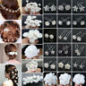 20/40Pcs Wedding Bridal Pearl Rose Flower Hair Pins Rhinestone Crystal Clip New