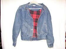 Vintage Burlington Collection Red Check Lined Denim Jean Jacket coat ~ large