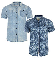 Soul Star Men's New Short Sleeve Cotton Shirt Washed Pattern Faded Look Blue