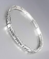 INSPIRATIONAL Faith Hope Love Hearts LOVE 4mm Thin Stretch Stackable Bracelet