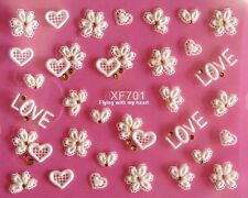 "3D White Lace Gridding Letter ""Love"" Rhinestone Heart Flowers Nail Stickers 701"