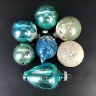 VTG Shiny Brite Mixed Lot Glass Christmas Ornament Aqua/Blue White Mica Lantern