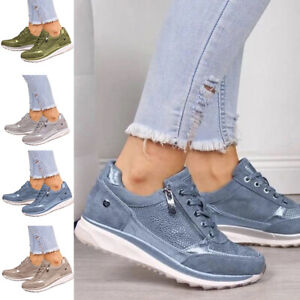 Women Lady Sneakers Zipper Lace Up Casual Sport Walking Trainers Shoes