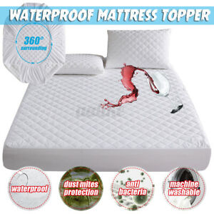 Waterproof Mattress Topper Protector Cover Pad Fibre Cotton Bedding Cover